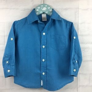Janie & Jack linen shirt 12-18 mos blue roll tab